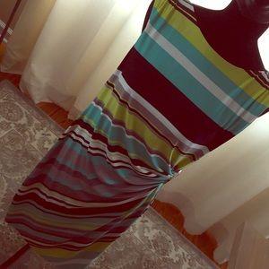 Tahari striped faux wrap dress